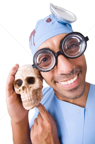 Stok fotoğraf: Komik · doktor · yalıtılmış · beyaz · çalışmak · hastane