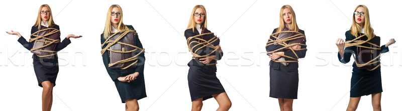 Woman tied up isolated on the white background Stock photo © Elnur
