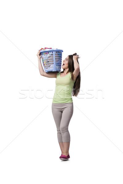 Stock fotó: Nő · érzés · koszos · szennyes · ház · mosoly