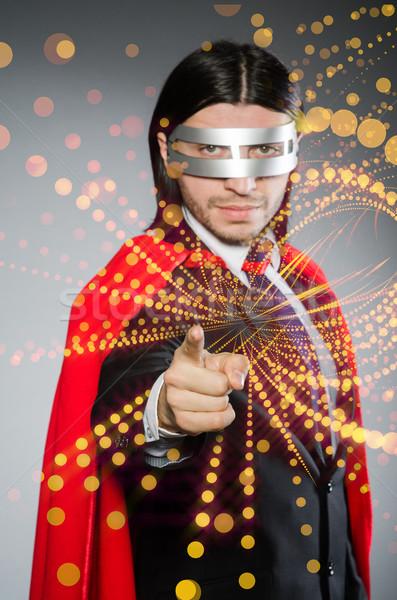 Adam kırmızı kapak süper kahraman iş işadamı Stok fotoğraf © Elnur