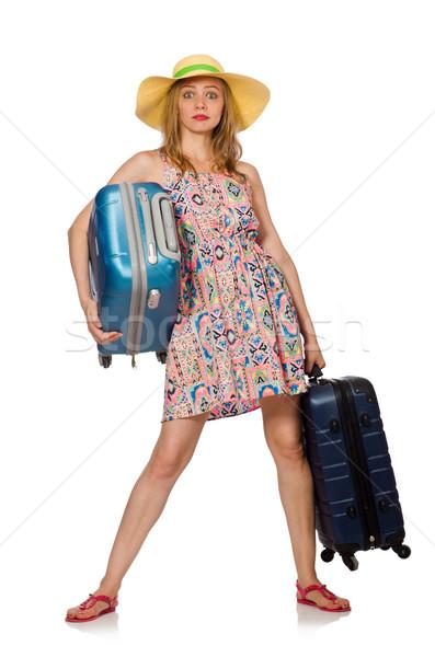 Stock fotó: Nő · bőrönd · izolált · fehér · boldog · nyár