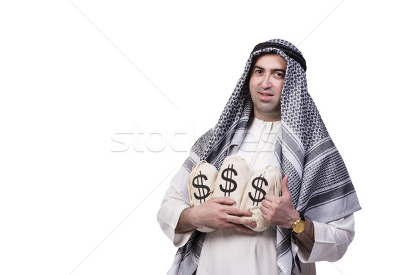 Arab férfi pénz izolált fehér üzlet Stock fotó © Elnur