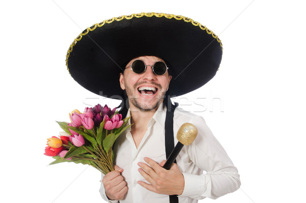 Sorridente mexicano flores microfone isolado branco Foto stock © Elnur