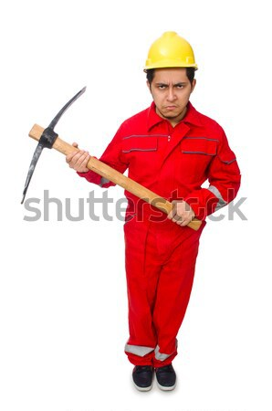 Stock photo: Man wearing red coveralls isolated on white