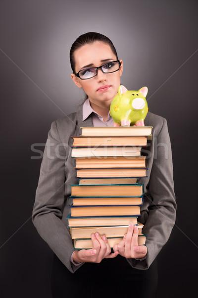 Stock fotó: Fiatal · diák · könyv · oktatás · nő · szomorú