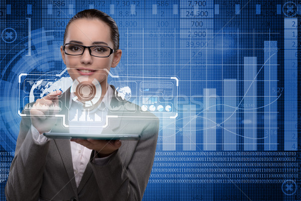 Zakenvrouw beurs handel vrouw geld internet Stockfoto © Elnur