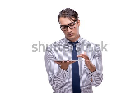 Handsome businessman working with tablet computer isolated on wh Stock photo © Elnur