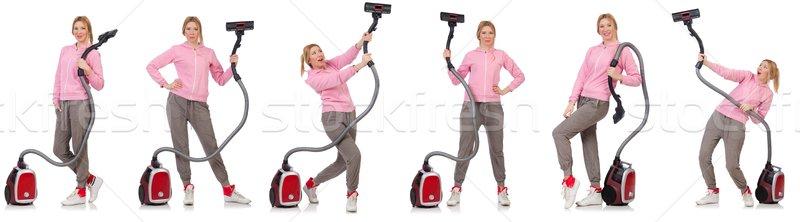 若い女性 真空掃除機 白 家 少女 幸せ ストックフォト © Elnur