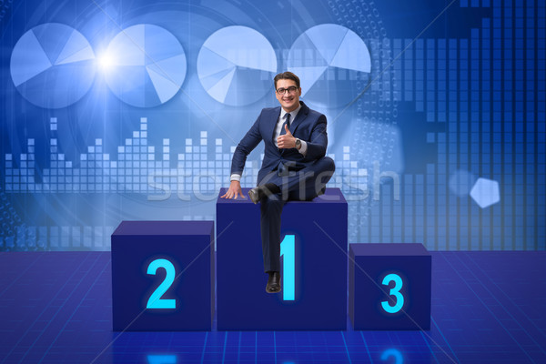 Zakenman eerste plaats concurrentie gelukkig werk Stockfoto © Elnur