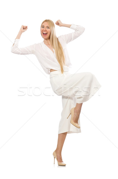 Blond haren model elegante pants geïsoleerd Stockfoto © Elnur