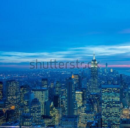 Night view of New York Manhattan during sunset Stock photo © Elnur