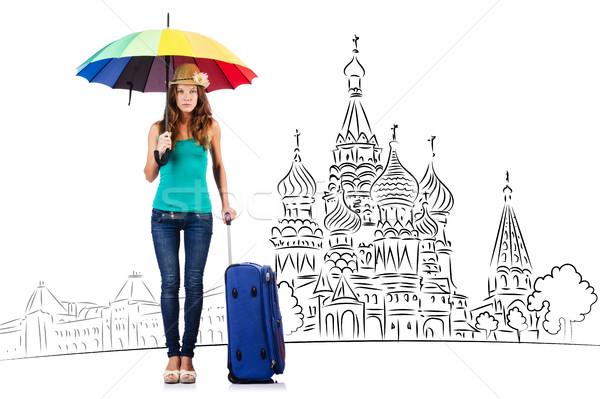 Genç kız turizm kız mutlu moda arka plan Stok fotoğraf © Elnur