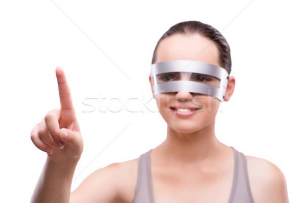 Kadın techno gözlük yalıtılmış beyaz teknoloji Stok fotoğraf © Elnur