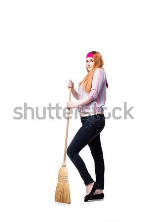 Funny woman with mop isolated on the white background Stock photo © Elnur