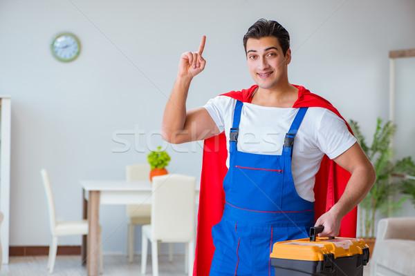 Süper kahraman çalışma ev ev Bina Stok fotoğraf © Elnur