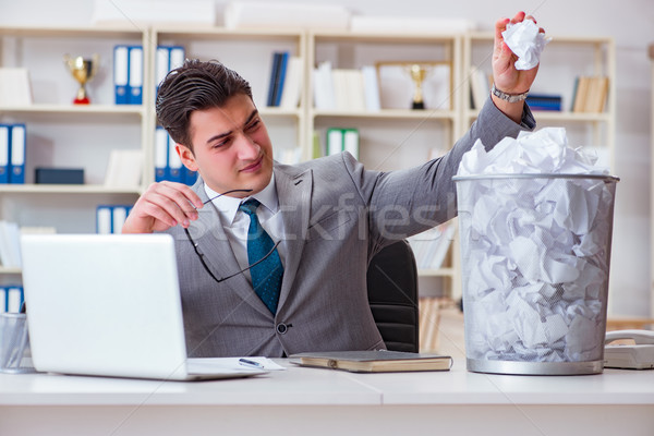 The businessman in paper recycling concept in office Stock photo © Elnur