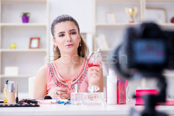 The beauty fashion blogger recording video for blog Stock photo © Elnur