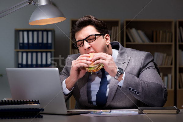 Сток-фото: бизнесмен · поздно · ночь · еды · Burger · бизнеса