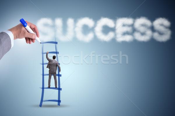 Stok fotoğraf: El · çizim · merdiven · başarılı · işadamı · öğrenci