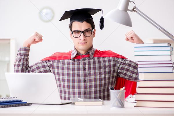 Szuperhős diák visel tanul vizsgák számítógép Stock fotó © Elnur