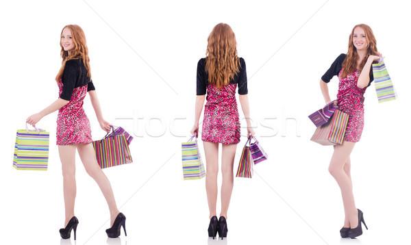 Stok fotoğraf: Kız · iyi · alışveriş · beyaz · mutlu · moda