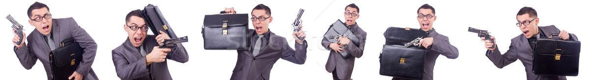 Engraçado empresário pistola branco negócio homem Foto stock © Elnur