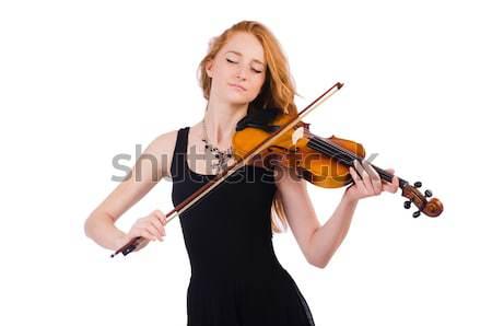 Elegáns fiatal hegedű játékos izolált fehér Stock fotó © Elnur