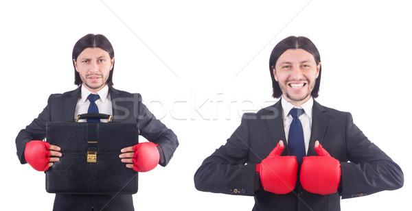 üzletember boxkesztyűk fehér üzlet munka portré Stock fotó © Elnur