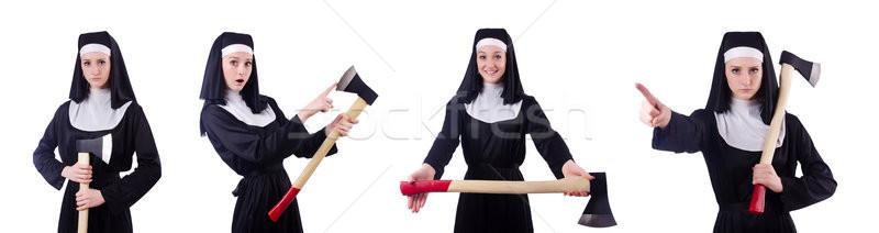 монахиня топор изолированный белый женщину девушки Сток-фото © Elnur