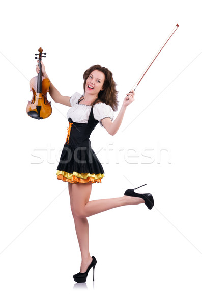 Foto stock: Mulher · jovem · jogar · violino · branco · mulher · menina