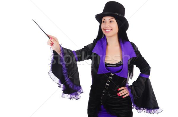 Mulher mágico isolado branco mão sorrir Foto stock © Elnur