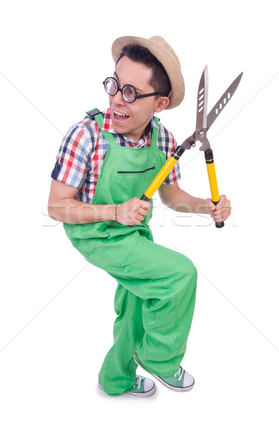 Funny man with shears on white Stock photo © Elnur