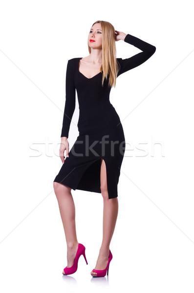Kobieta czarna sukienka moda biały dziewczyna model Zdjęcia stock © Elnur