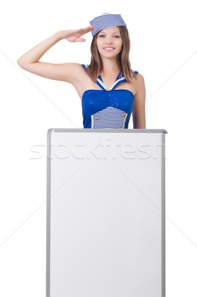 ストックフォト: 若い女性 · ボード · 白 · 笑顔 · ファッション · 夏
