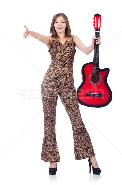 женщину Leopard одежду белый гитаре музыку Сток-фото © Elnur