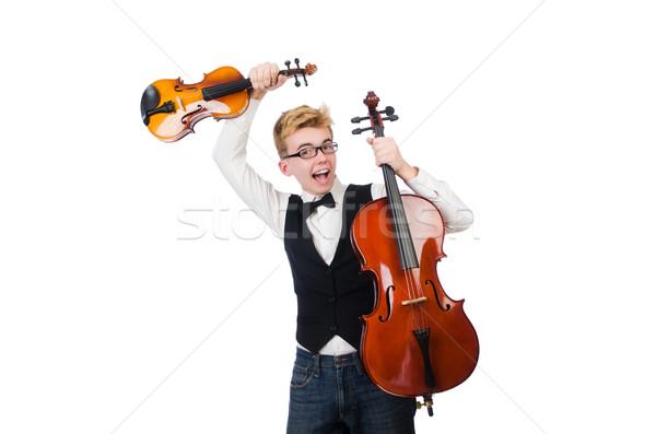 Сток-фото: смешные · человека · скрипки · белый · звук · мужчины