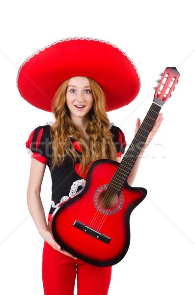 Woman guitar player with sombrero on white Stock photo © Elnur