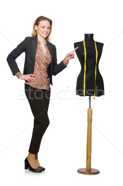 ストックフォト: 女性 · テーラー · 孤立した · 白 · ファッション · 作業