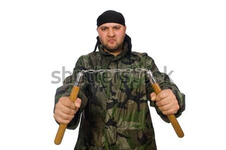 Vicces katona izolált fehér férfi háttér Stock fotó © Elnur
