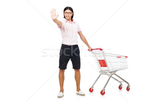 Homem compras supermercado cesta carrinho isolado Foto stock © Elnur