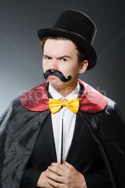 Vicces bűvész kalap kéz mosoly öltöny Stock fotó © Elnur