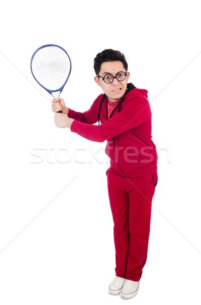 Vicces teniszező izolált fehér lány sport Stock fotó © Elnur