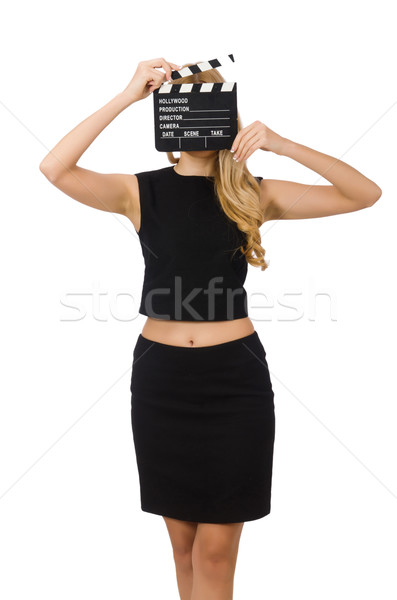 Woman holding movie clapboard isolated on white Stock photo © Elnur