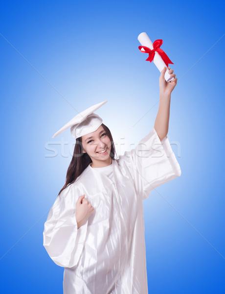 Jóvenes femenino estudiante diploma blanco mujer Foto stock © Elnur