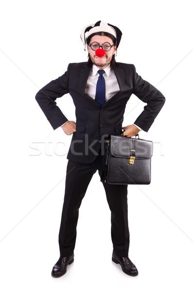 Divertente clown imprenditore isolato bianco party Foto d'archivio © Elnur