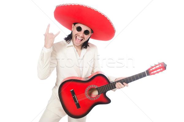 Mexicano guitarrista isolado branco festa discoteca Foto stock © Elnur