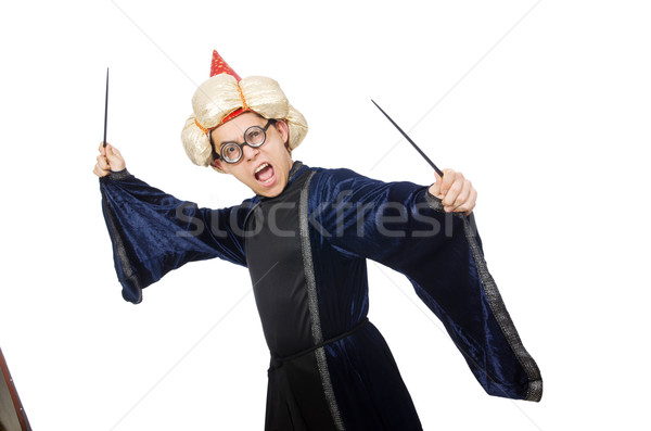 Funny wise wizard isolated on the white Stock photo © Elnur