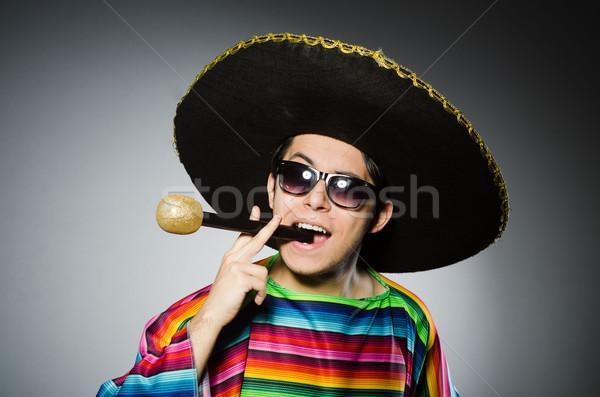 Funny mexicano cantando karaoke música fiesta Foto stock © Elnur