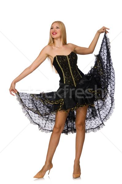 ブロンド 髪 少女 黒 イブニングドレス 孤立した ストックフォト © Elnur
