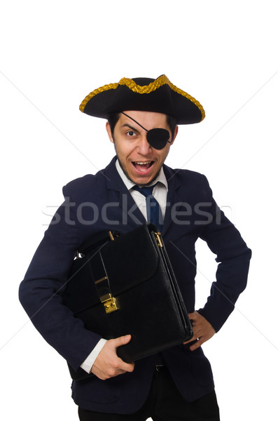 Stock photo: One eyed pirate with briefcase and sword isolated on white